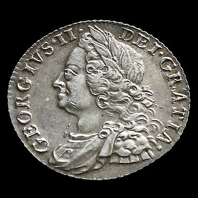 1758 George II Early Milled Silver Shilling - G/EF