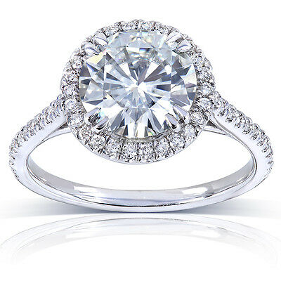 Round-cut Moissanite and Diamond bridal set 2 Carat (ctw) in 14k White Gold
