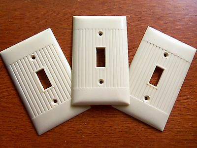 Three Vintage Bakelite Single Toggle Switch Plates by Sierra - Unused • CAD $7.50