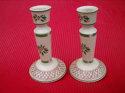 "Christmas Motif  Vintage Japan  Two  6.25""  Candle Holders Beautiful"