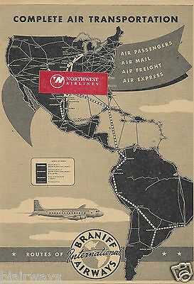 Braniff International Airways 1946 Complete Air Transportation Route Map Ad