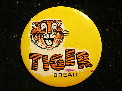 """Vintage ADVERTISING PIN BACK BUTTON*TIGER BREAD * 2-1/2"""""""