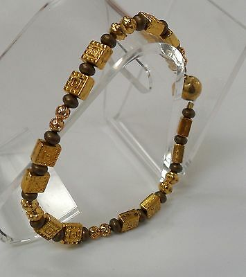 "7 1/2"" Magnetic Clasp Bracelet, Gold & Bronze Beads"