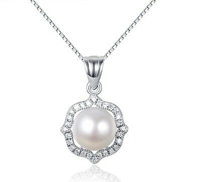 925 Sterling Silver Freshwater Pearl micro-pave CZ Crystal Pendant Necklace A2
