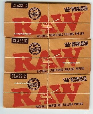 3 PACKS RAW CLASSIC KING SIZE SUPREME Natural Unrefined Cigarette Rolling Papers