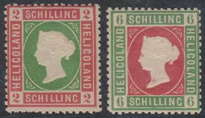 BC HELIGOLAND 1867-68 QV Sc 3 & 4 TOP VALUES PERF REPRINTS HINGED MINT