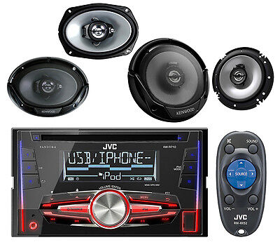 "JVC KWR710 CD USB iPod AUX Mp3 Car Receiver, Kenwood 6.5"" & 6x9"" Car Speaker Set"