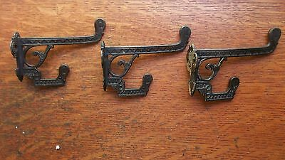 Three Antique Fancy Iron Victorian Craftsman Eastlake Hat or Coat Hooks c1885