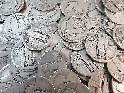 $10 Face 90% Silver Standing Liberty Quarters U.S. Coin Lot Roll - 40 No Dates