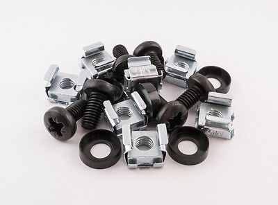 "10 Pack of BLACK M6 Cage Nuts Screws 19"" Data Network Rack Cabinet Mount PDU"
