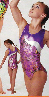 NWT Axis Gymnastic DanceTank Leotard Purple Foil Animal Print Ladies/Child 75046