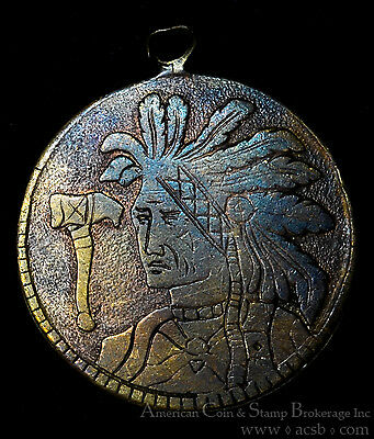 Love Token With Native American Indian Portraits & Tomahawak on Copper Planchet.
