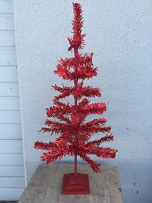 3Ft Handmade Matt Red Christmas Feather Tree Tinsel Tabletop 36""
