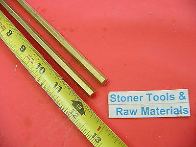 "2 Pieces 1/4"" C360 BRASS HEX BAR 12"" long New Lathe Bar Stock .250"" 1/2 Hard"