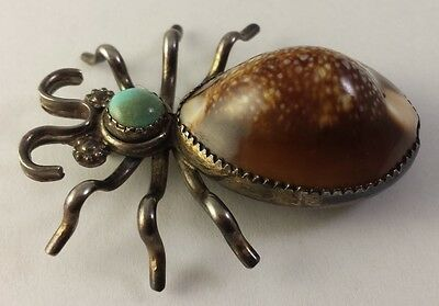 Huge Vintage Navajo Indian Sterling Silver Bug Pin with Turquoise and Shell