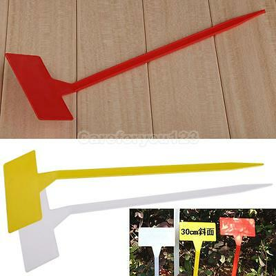 50 Pcs Plastic Plant T-type Upturned Tags Markers Nursery Garden Labels  #Cu3