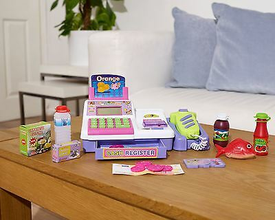 Purple Supermarket Cash Register Pretend Play Grocery Checkout Till with Scanner