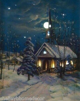 Snowy Church vintage Christmas style Radiance Lighted wall art Timer  x46831 NEW