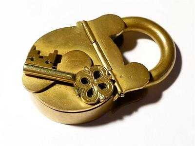 Antique Novelty Gilt Brass Box in the Form of PADLOCK with Ornate Key on Front