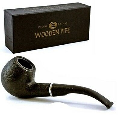 Chang Feng 15cm Durable BLACK Wood Wooden Effect Tobacco Smoking Pipe Gift Boxed