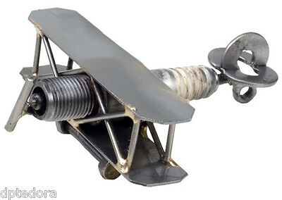 Hand Crafted Recycled Metal Airplane  Art Sculpture Figurine