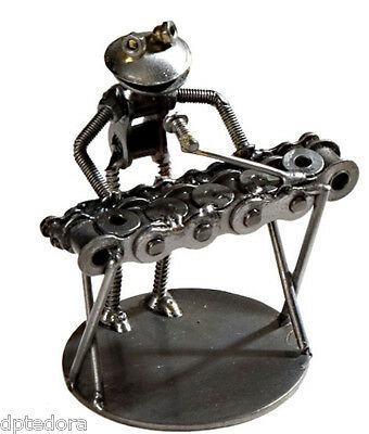 Hand Crafted Recycled Metal Frog Keyboard Player Rock Band Art Sculpture