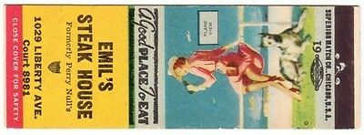 "Emil's Steak House ""Plane View"" Pinup SW Matchbook Cover"