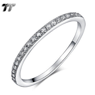 TT Sparkling RHODIUM 1.5mm Thinner 925 Sterling Silver Band Ring Size 2-8 (RW42)