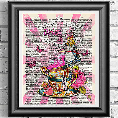 ART PRINT ON ORIGINAL ANTIQUE BOOK PAGE Drink Me Alice in Wonderland Dictionary