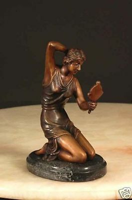 Coquetry by Chiparus Lost Wax Bronze Casting w/ Marble