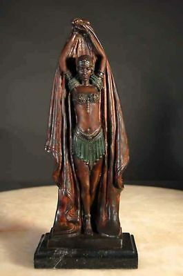 """Bronze """"Antinea"""" by Chiparus Marble Base"""