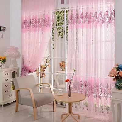 Fashion Tulle Door Window Floral Curtain Drape Panel Voile Valances Scarf Sheer