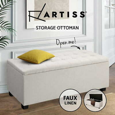 Blanket Box Ottoman Storage Linen Fabric Foot Stool Chest Toy Bed Large Beige