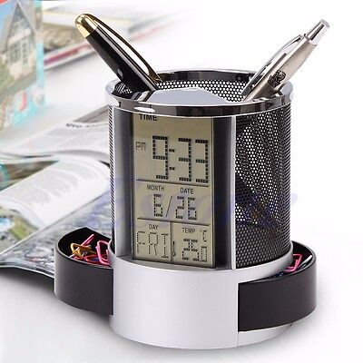 Digital LCD Office Desk ALarm Clock & Mesh Pen Pencil Holder Time Temp Calendar