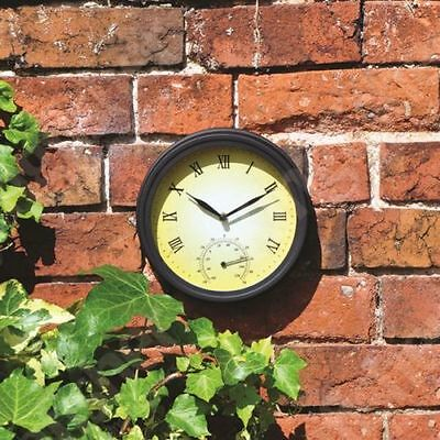 Traditional Wall Mounted Outdoor Garden & Patio Metal Clock & Thermometer Gct100