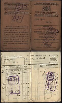 1907-16 STONE, Staffordshire POST OFFICE SAVING SBANK BOOK to Miss E. Smith