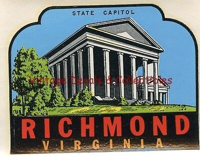 Vintage Travel Luggage Decal Richmond Virginia Capitol State Souvenir Original