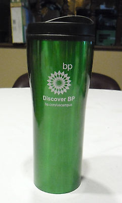 "British Petroleum BP Tall Green Insulated Coffee Travel Cup Mug ""Discover BP"""