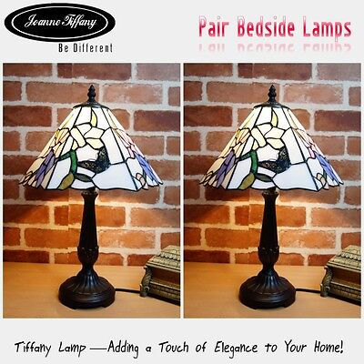 """Pair*Amazing 12"""" Butterfly Museum Quality Floral Tiffany bedside Lamp"""