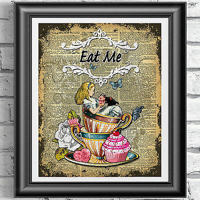 ART PRINT ORIGINAL ANTIQUE BOOK PAGE Eat Me Alice in Wonderland Dictionary