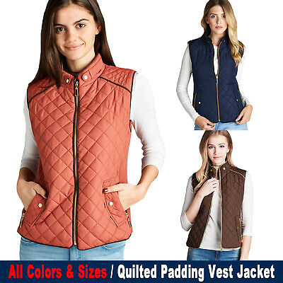 Women's Paddin Vest Jacket Lightweight Quilted Top Outwear S/M/L/1XL/2XL/3XL