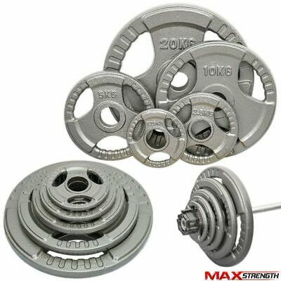 """Tri-Grip Iron Cast 2"""" Olympic Weight Plates Disc Powerlifting Barbell Gym Bar"""