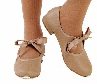 New Tap Shoes Girls/ ladies sizes Tapette Mary Janes Tan Dance Ribbon tie 3505