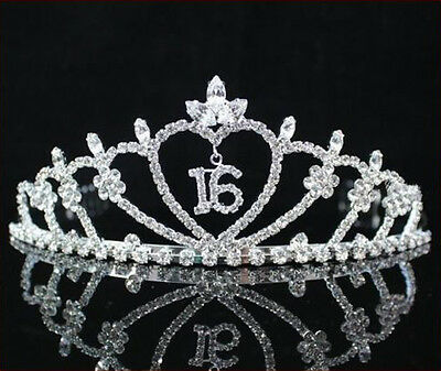 Fashion Wedding Sweet Sixteen 16 Rhinestone Tiara Crown With Combs Party Pageant