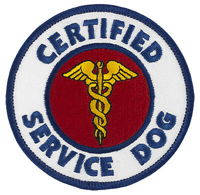 "CERTIFIED SERVICE DOG Sew-On SD-001 Embroidered Patch 3"" Dia. - FREE SHIPPING!"