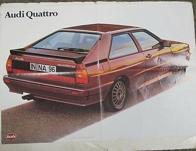 1980 Audi Quattro Coupe Brochure Poster German wv2410