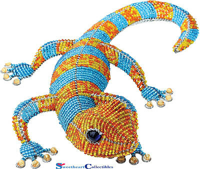 Beadworx Grass Root Hand-Crafted Beaded Large Geckos Tropical Orange