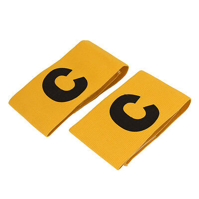 2pcs Letter C Pattern Soccer Football Tension Elastic Captain Armband Yellow