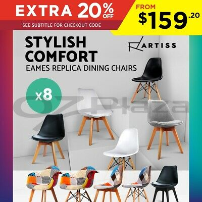 8 x Retro Replica Eames DSW Dining Chair Armchair Beech Wood Foam Fabric