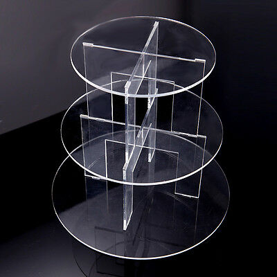3 Tier Cupcake Cup Cake Stand Display Round Clear Acrylic Wedding Party Astralia